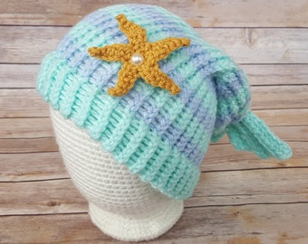 Blue Purple Mermaid Hat, Mermaid Hat, Knitted Mermaid Hat, Knit Mermaid Hat, Mermaid Slouchy, Mermaid Lover Hat, Cosplay Mermaid Hat