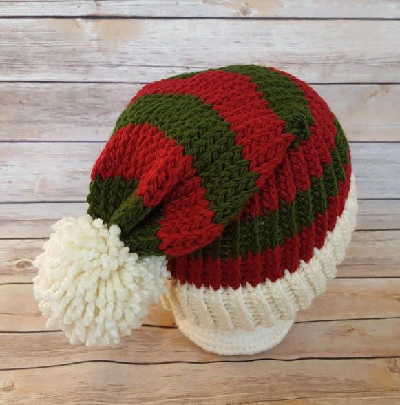Elf Hat Red Green Santa Hat Elf Beanie Hat Winter Hat Knit  9bcb93b7d68