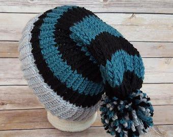 Blue Green Black Silver Slouchy Hat, Eagles Sports Team Hat, Eagles Hat, Knitted NFL Hat, Knitted Philadelphia Eagles Hat, Eagles Beanie