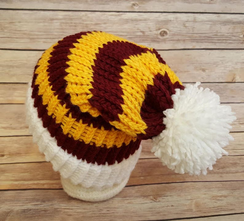 meet 7107e 98705 Maroon and Yellow Slouchy Hat Burgundy Yellow Sports Team   Etsy