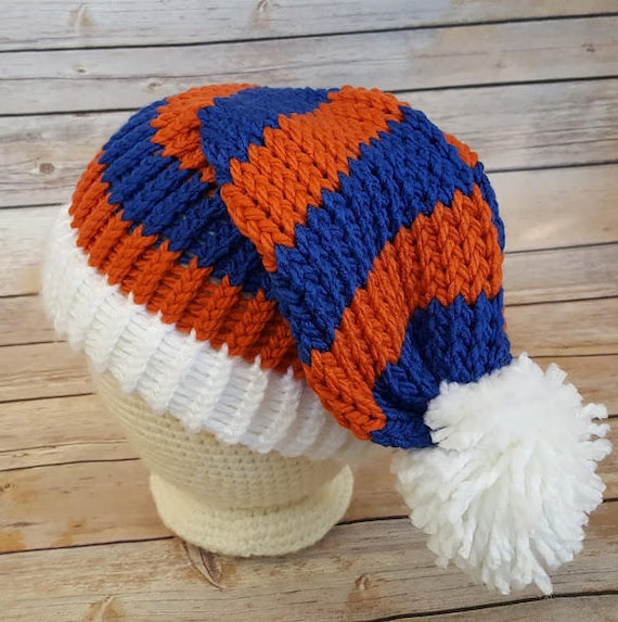 2a23bf76a45 Orange Blue Slouchy Hat College Football Hat NFL Hat Knit