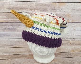Rainbow Stripes Unicorn Hat, Unicorn Hat, Knitted Unicorn Hat, Knit Unicorn Hat, Knit Unicorn Beanie, Unicorn Lover Hat, Cosplay Unicorn Hat