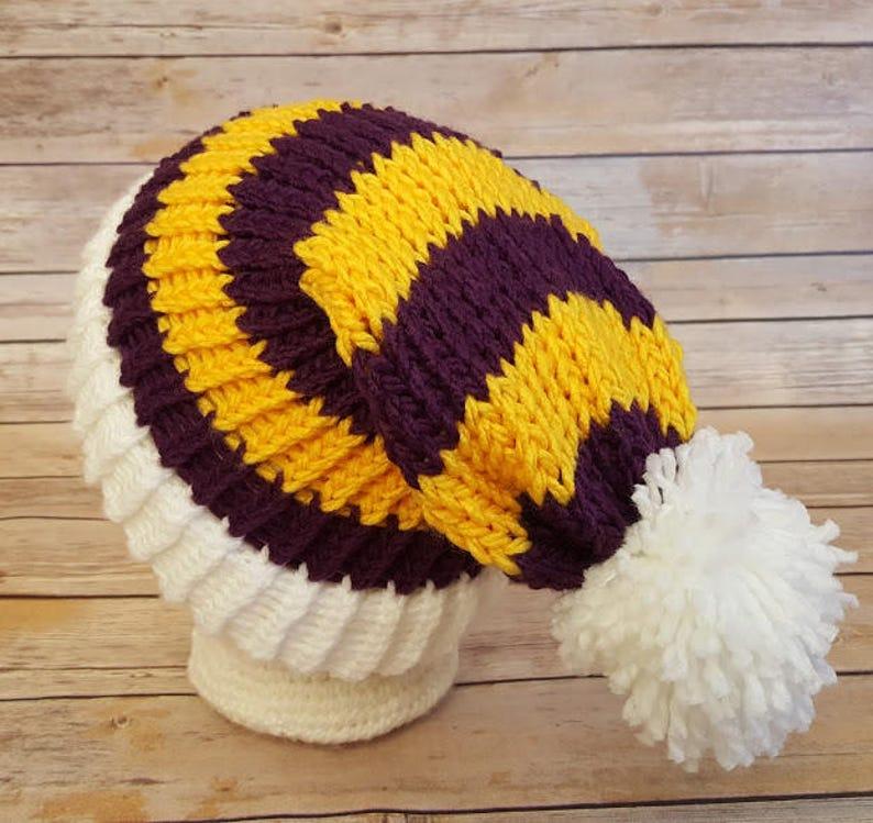 0e63ff4d Purple Yellow Slouchy Hat, Purple Yellow Sports Team Hat, Vikings Hat, Knit  NFL Hat, Knit Purple Gold Hat, Knitted Minnesota Vikings Hat