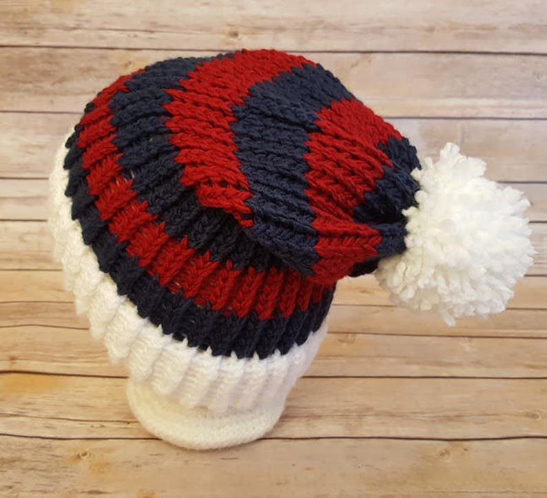 44635052 Red White Blue Slouchy Hat, Red Blue Sports Team Hat, New England Patriots  Hat, Knitted NFL Hat, Patriots Beanie, Indians Hat, Patriots Hat