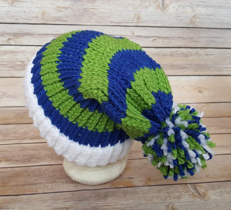 affordable price new specials authentic Blue Green Slouchy Hat Blue Green Sports Team Hat Seahawks | Etsy