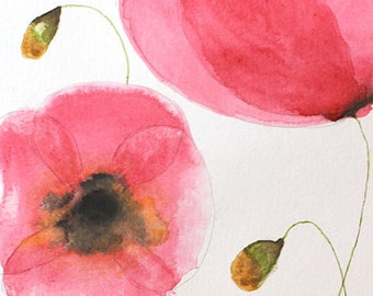"""Poppies - Original Watercolor Painting 6"""" x 18"""" Artwork"""