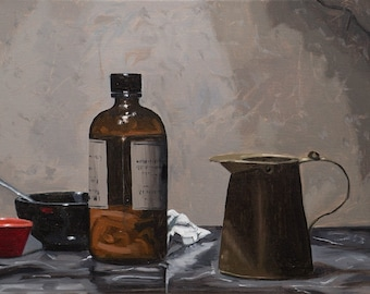 "Original signed oil painting still life glass bottle metal pitcher Realism ""Apothecary"""
