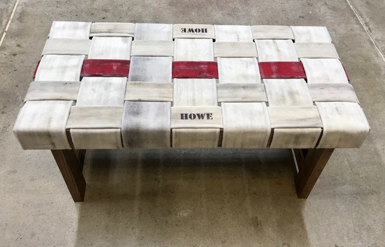 Fire Hose Bench  Firefighter  Thin Red Line  Birthday gift Lettering/dark stain