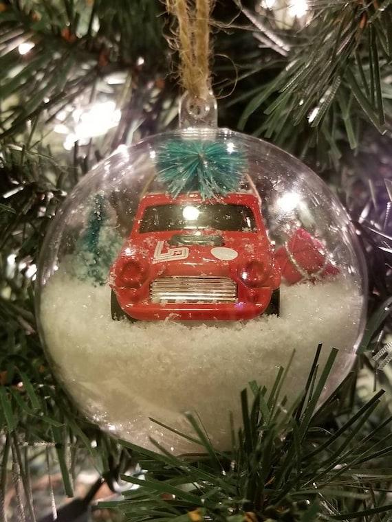 Car Christmas Ornaments.Mini Cooper Christmas Ornament Mini Cooper Ornament Mini Cooper Car Ornament Snow Ornament Gift Ornaments Fun Ornament Ornament With Snow