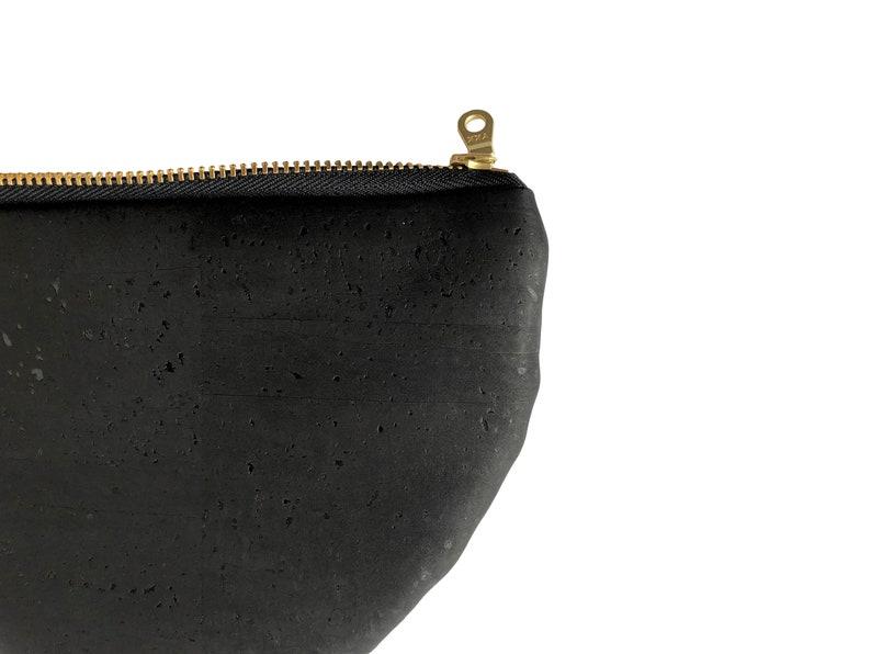 black pouch. Black cork pouch Eco handbag Sustainable bag Cork pouch Black Zipper pouch Black half-moon pouch Small vegan bag