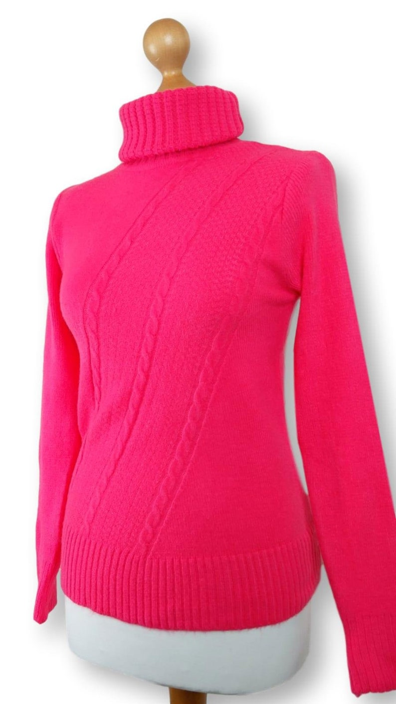 new styles f6541 5243b Grobstrick Pullover Rosa / gerippt Rollkragen Pullover/Rosa Pullover /  Rolle Hals Pullover / Fluor gestrickte Pullover / Rollkragenpullover / ...