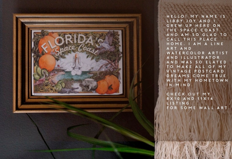 note card Shuttle Rocket Launch Citrus Watercolor Illustration Titusville Cocoa Beach Merrit Island Florida\u2019s Oranges Postcard Palm