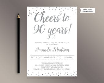 Cheers To 90 Years Birthday Party Invitation White And Silver Confetti 90th Invites Adult Invite Digital Printable Bday