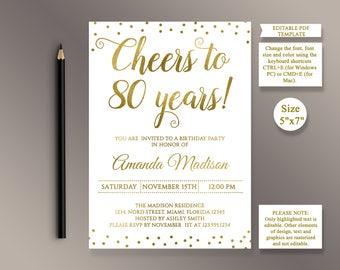 EDITABLE 80th Birthday Party Invitation Template Cheers To 80 Years Anniversary Gold Invite Digital Printable PDF