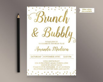 Bridal shower invitation gold confetti bridal shower invite etsy brunch and bubbly invite gold confetti bridal shower invitations digital printable invites white and gold glitter bridal brunch invites filmwisefo