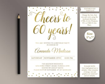 EDITABLE 60th Birthday Party Invitation Template Cheers To 60 Years Anniversary Gold Invite Digital Printable PDF