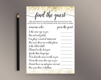 find the guest gold confetti bridal shower games guess the guest game wedding shower game shower activity alligraphy baby shower ideas