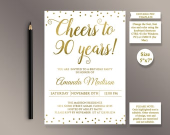 EDITABLE 90th Birthday Party Invitation Template Cheers To 90 Years Anniversary Gold Invite Digital Printable PDF