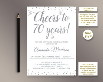 70th birthday invite etsy editable 70th birthday party invitation template cheers to 70 years 70th anniversary invitation silver birthday invite digital pdf filmwisefo
