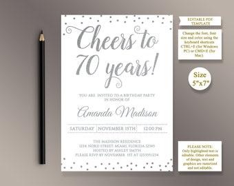 70th birthday invite etsy