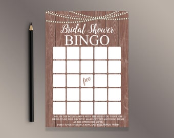 Bridal Shower Bingo Cards, Bridal Bingo, Rustic Wood Bridal Shower Games, Funny Bridal Game, Wedding Shower Activities, Country shower games