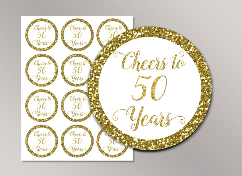 Cheers To 50 Years Cupcake Toppers 50th Birthday Favor Tags