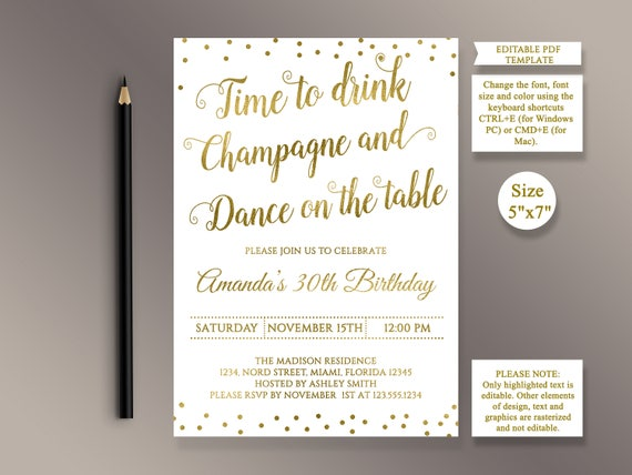 editable birthday party invitation template time to drink etsy