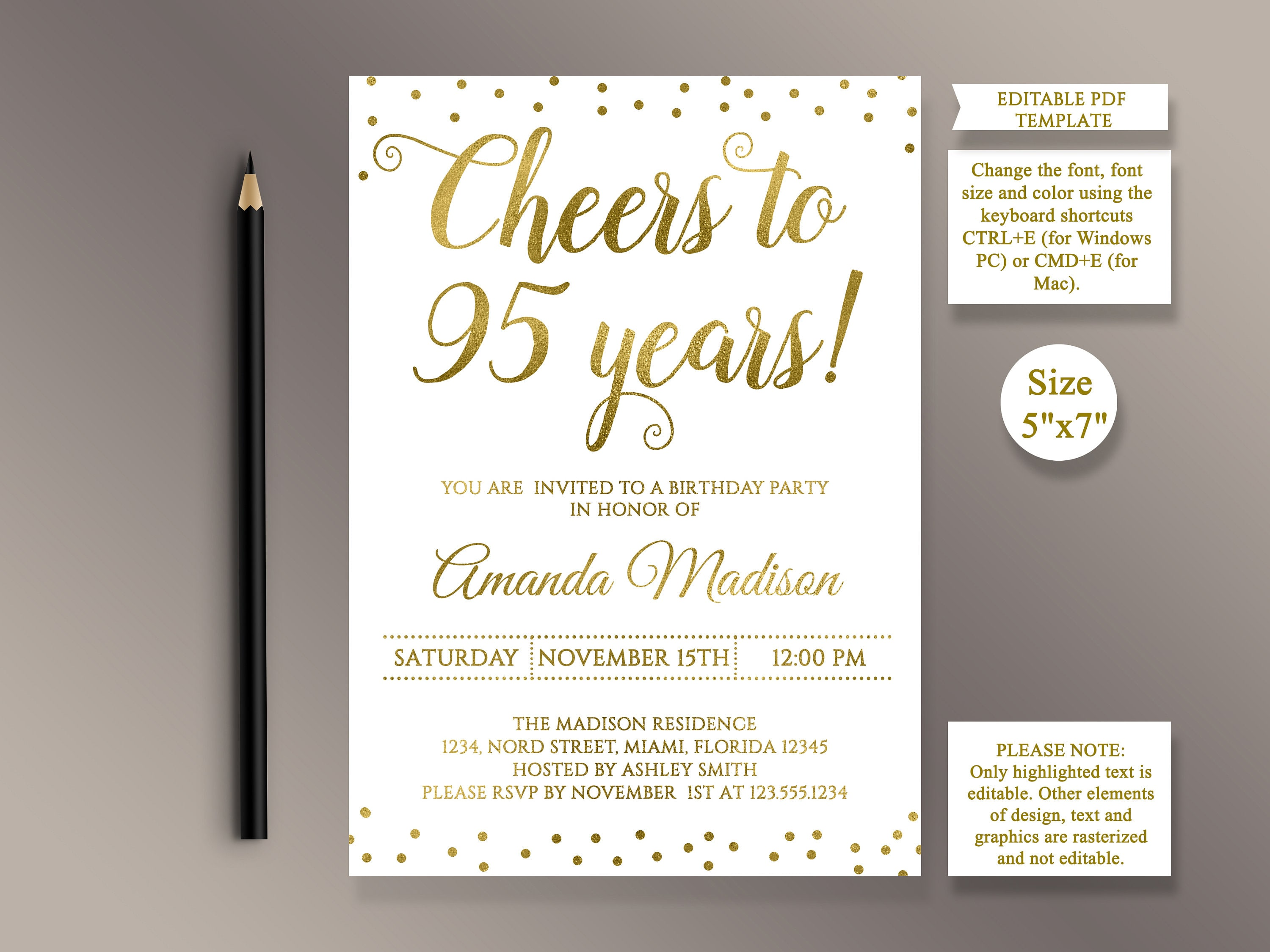 EDITABLE 95th Birthday Party Invitation Template Cheers To 95