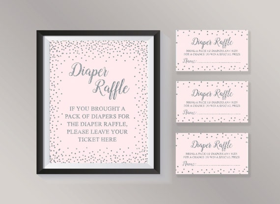 Diaper Raffle Ticket, Diaper Raffle Sign, Baby Shower Games, Pink and  Silver Confetti Baby Shower ideas for Girl, Baby Diaper Raffle