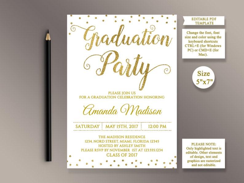 EDITABLE Graduation Invitation Template Gold Confetti Party Invite Celebration Grad Printable PDF