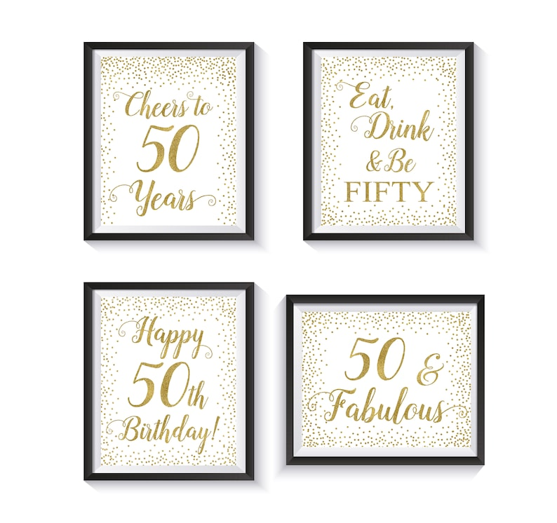50th Birthday Decoration Package Signs Bundle
