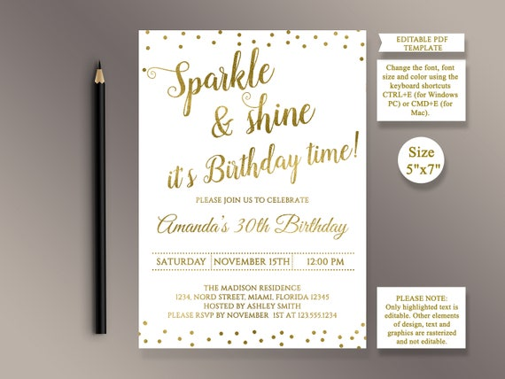 editable birthday party invitation template sparkle and shine etsy