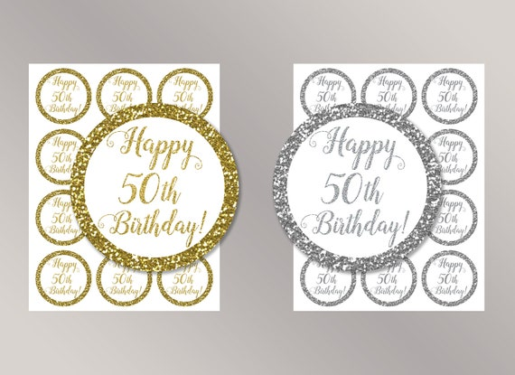 Happy 50th Birthday Cupcake Toppers Favor