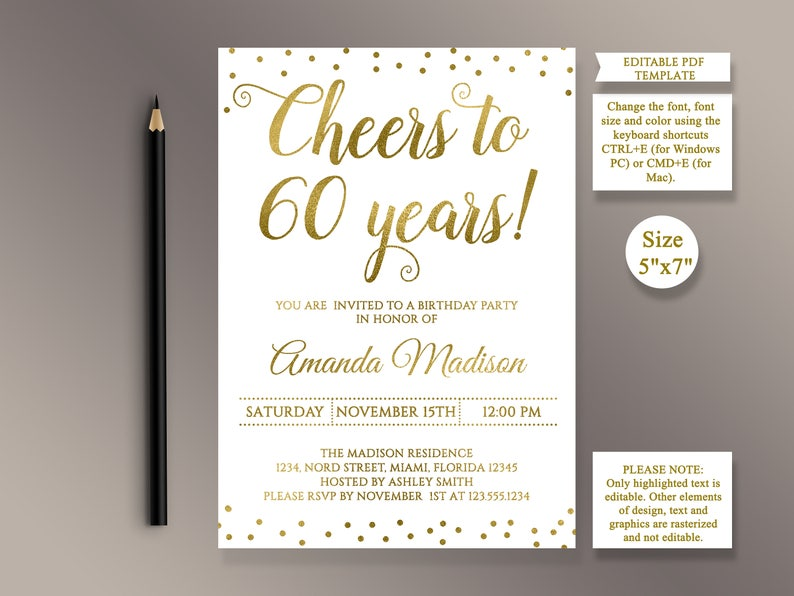 EDITABLE 60th Birthday Party Invitation Template Cheers To 60