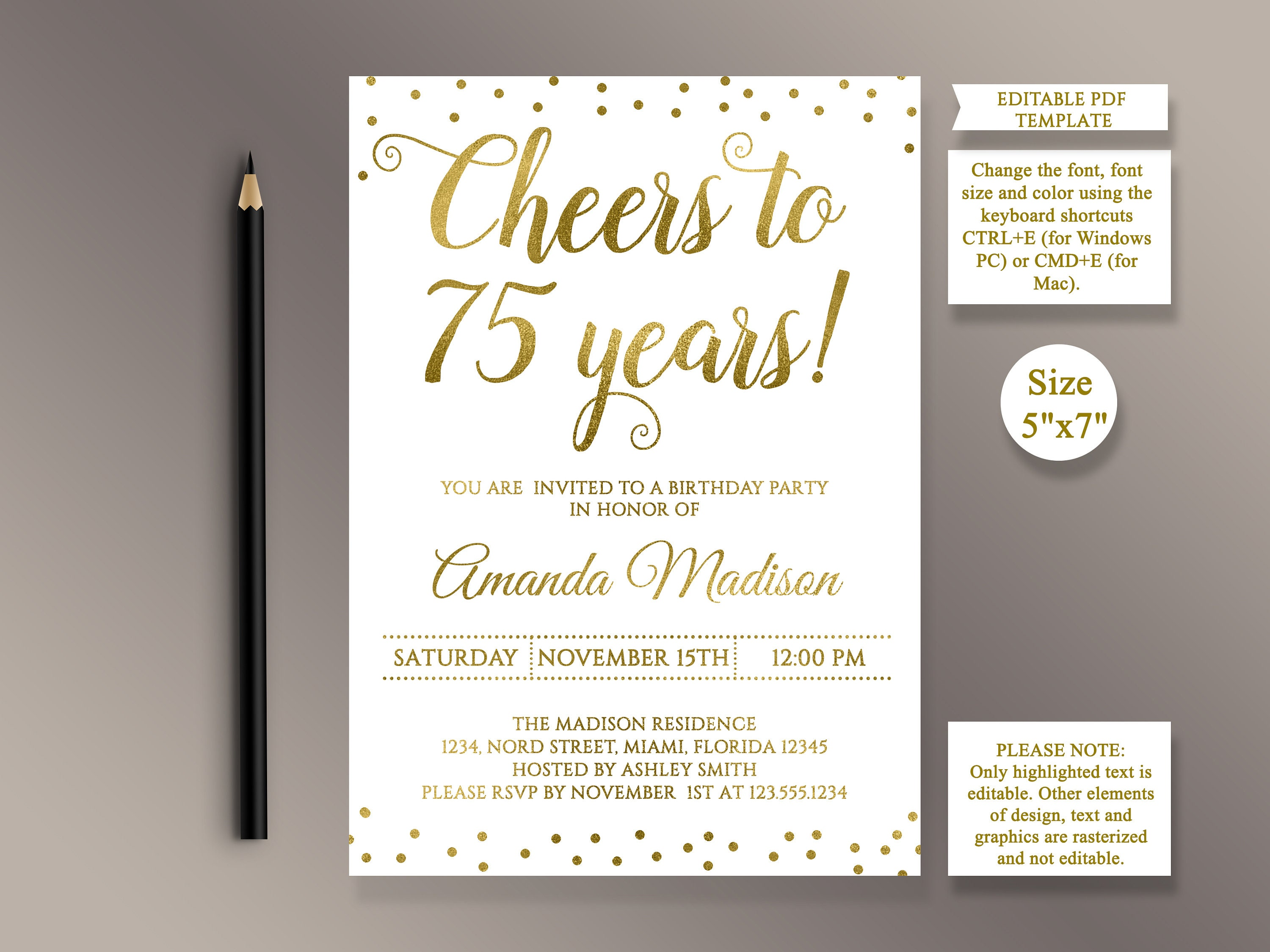 EDITABLE 75th Birthday party Invitation template Cheers to 75 | Etsy
