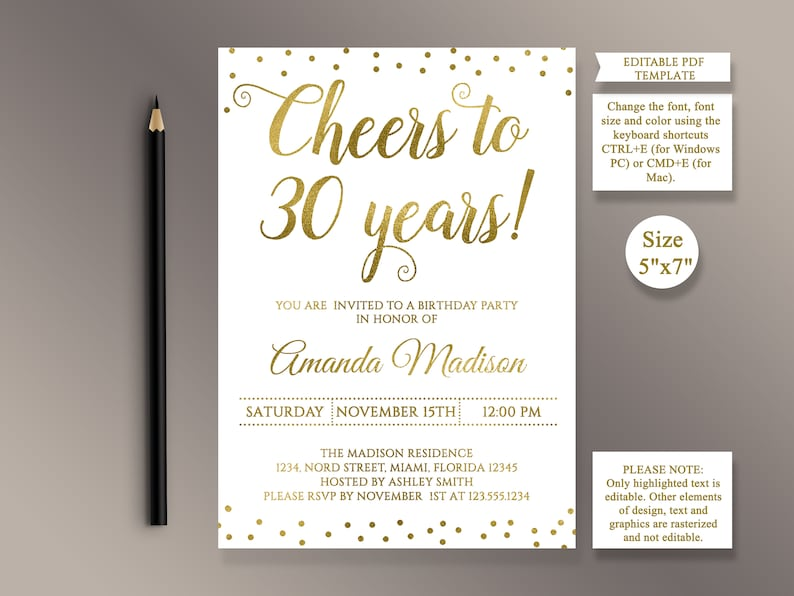 EDITABLE 30th Birthday Party Invitation Template Cheers To 30