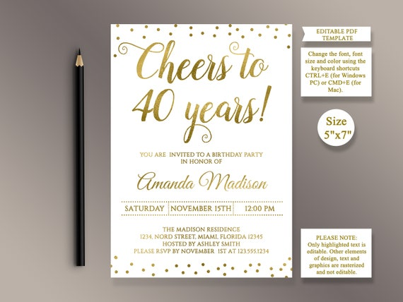 Editable 40th Birthday Party Invitation Template Cheers To 40 Etsy