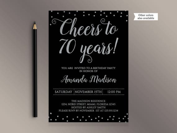 Cheers To 70 Years Birthday Party Invitation Black And Silver