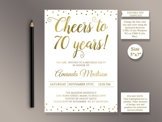 Editable 70th birthday party invitation template cheers to 70 etsy image 0 filmwisefo