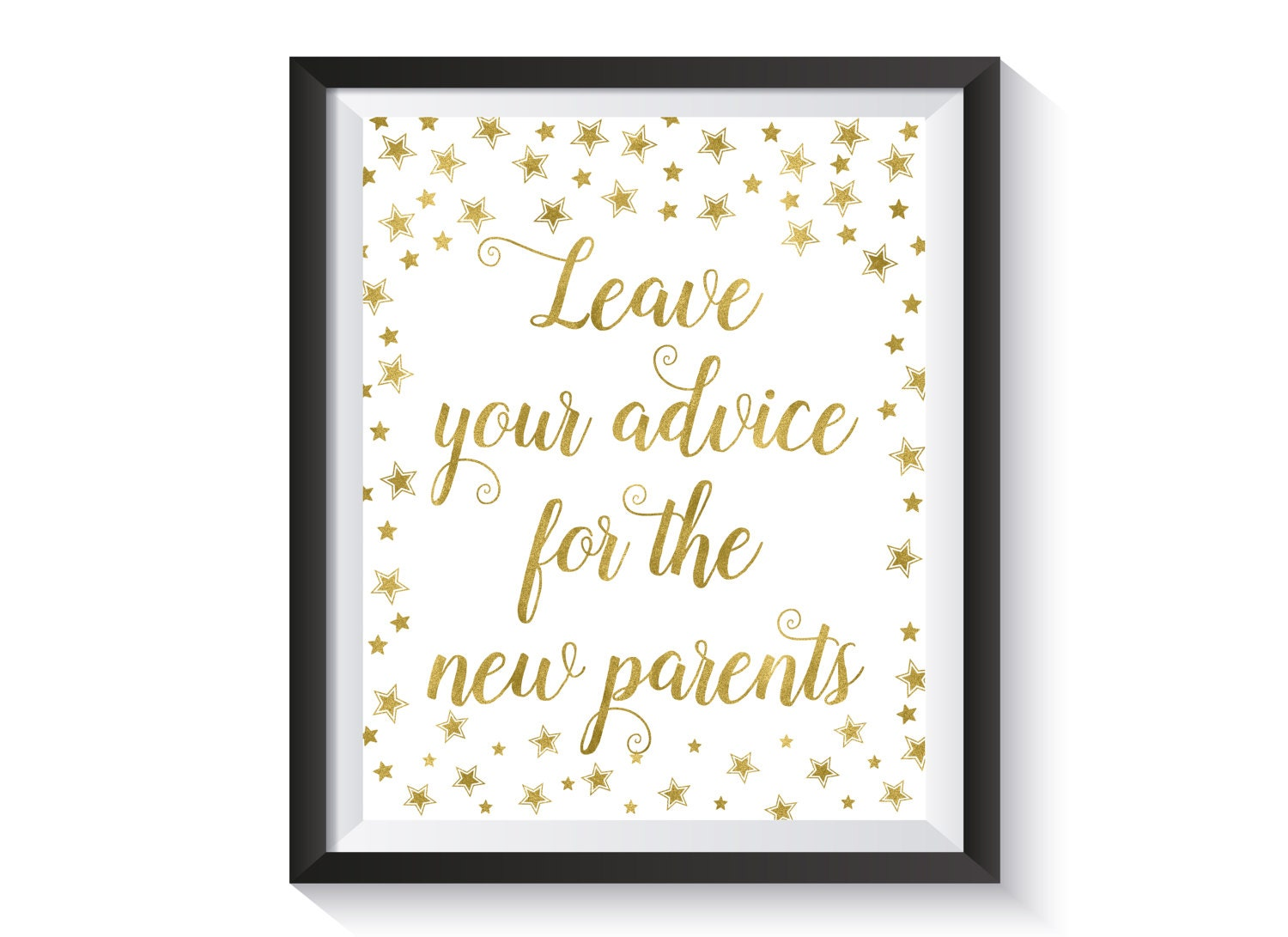 Advice For The New Parents Printable Sign Gold Stars Baby Etsy