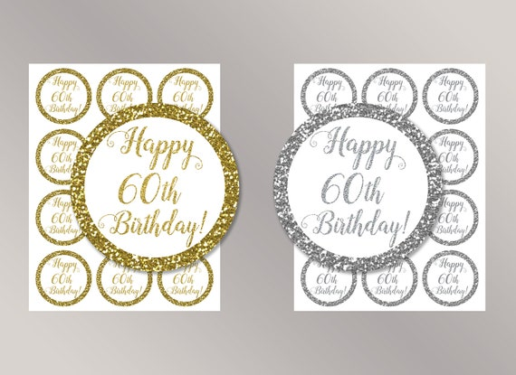 Happy 60th Birthday Cupcake Toppers Favor