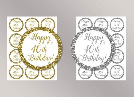 Happy 40th Birthday Cupcake Toppers Favor