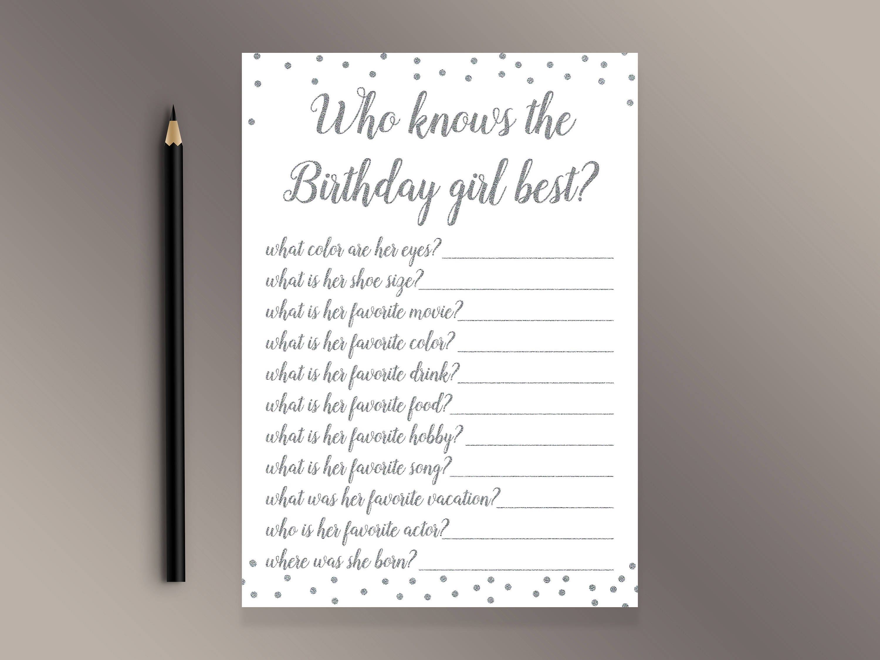 a515f543e15b Who knows the Birthday girl best Funny Birthday party games