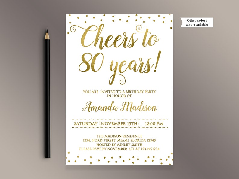 Cheers To 80 Years Birthday Party Invitation Gold Confetti