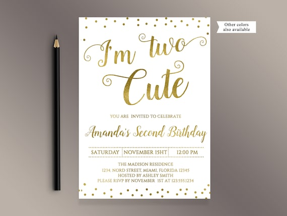 Im Two Cute Invitations Second Birthday Invitation Gold