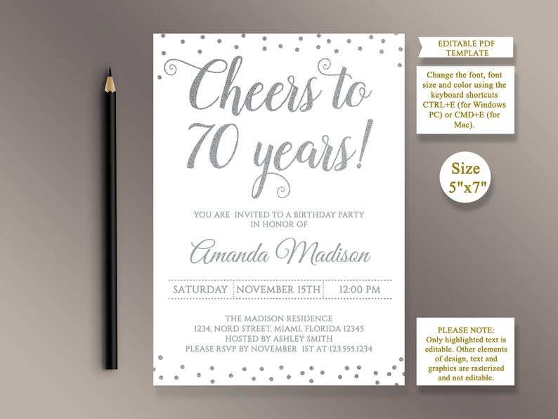 EDITABLE 70th Birthday Party Invitation Template Cheers To 70