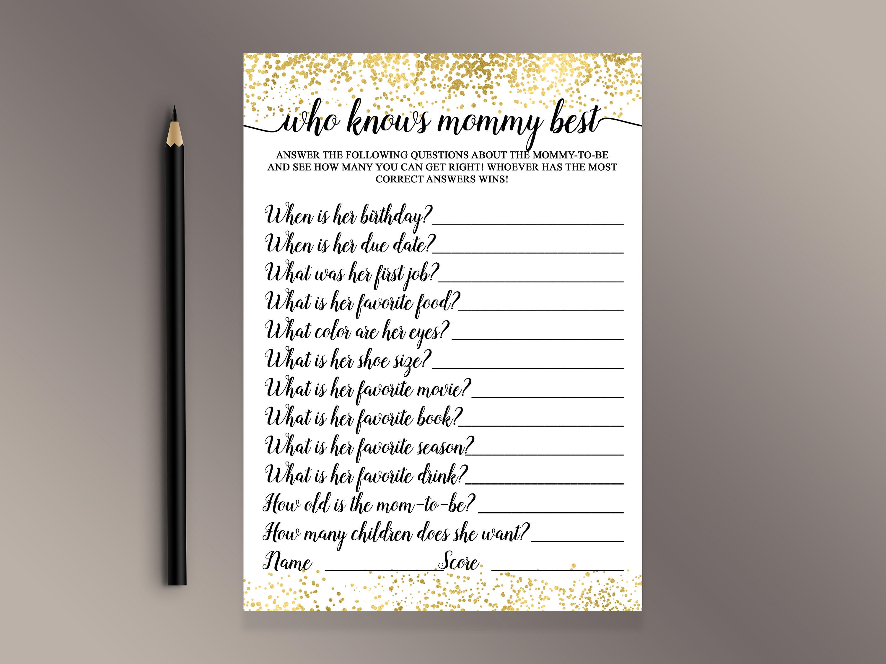 Who Knows Mommy Best Baby Shower Games Gold Confetti Baby Etsy
