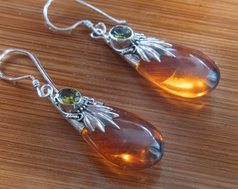 Golden light earrings, 925 sterling silver, green citrin,  amber colored resin, Bali jewelry, Boho, affordable luxury