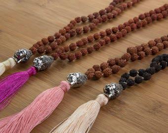 Buddha Mala -   prayer bead necklace, sacred rudraksha 925