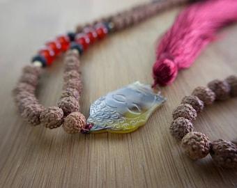 Buddha Mala Carneole, prayer bead necklace, sacred rudraksha 925 sterling silver, lava stone